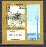 Cuba 1987 Mi Nr Blok 99 ; CAPEX '87, Toronto:: Horse, Post Per Paard - Cuba