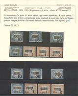 1936 San Marino Saint Marin SEGNATASSE SOPRASTAMPATI Serie Di 7 Valori: 47/53 MNH** Certificato G. Biondi - Segnatasse