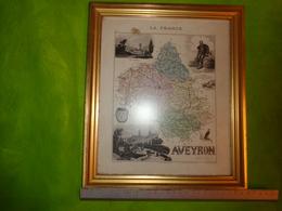 Carte Géographique Du Département De L'aveyron (XIX° S.), Dressée Par Vuillemin Et Gravée Par Ch. Dyonnet -encadre - Cartes Géographiques