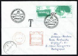 """Lettre Du Gd Duché De Lux., Avec T. ATM """"JUVALUX"""" D'1 Val. 16 Frs, Taxée Avec Machi 14 Frs - Oblit. """"TONGEREN 24/6/1998"""" - Taxes"""