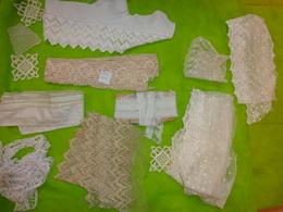 Lot De Dentelle Diverses 2 Grandes Long Dentelle Sur Tulle A Identifier 13cm X140 Et 13cm X4.92m - Laces & Cloth