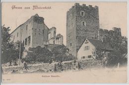 Gruss Aus Maienfeld - Schloss Brandis, Animee - Rasierklingen-Stempel - GR Grisons