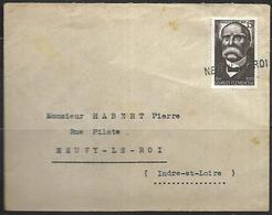 LF B46  Lettre De 1952 Cachet Linéaire De Neuvy Le Roi Timbre N°918 - Marcophilie (Lettres)