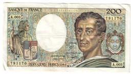 France 200 Francs 1981 S/N Alphabet A003 - 200 F 1981-1994 ''Montesquieu''