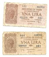 """1944 - ITALIA - 2  BIGLIETTI DI STATO Da LIRE 1 LUOGOTENENZA """" ITALIA LAUREATA """" - Italia – 1 Lira"""