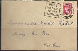 LF B59 Lettre De 1951 De Pocé Sur Cisse Avec Daguin Timbre N°813 - Storia Postale