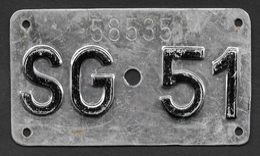 Velonummer St. Gallen SG 51 - Plaques D'immatriculation