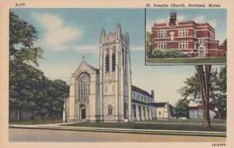 Maine Portland St Josephs Church Curteich - Portland