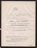 MALINES MECHELEN Françoise DIERCXSENS Baronne DUVIVIER 69 Ans 1866 Faire-part Mortuaire - Obituary Notices