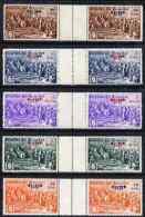 61563 Ecuador 1939 The Unissued Rectangular Columbus Set Of 5 Values Opt'd '1939' In Inter-paneau Horizontal Gutter Pair - Esploratori