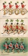 Année Date Millesime - 1906 - 4 Hommes Portant Chiffres, Gaufré X 3 - New Year