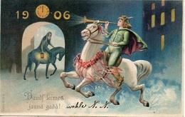 Année Date Millesime - 1906 - Daudf Laimes Jauna Gada Jeune Page à Cheval Cor, Gaufré - Anno Nuovo