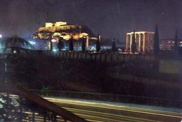 Athenes - Acropolis And Temple Of Olympisn Zeus By Night - Formato Grande Viaggiata – E 5 - Grecia