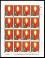 Ireland 1985 MNH Scott #649 Minisheet Of 16 22p Candle, Holly - Christmas - Blocs-feuillets