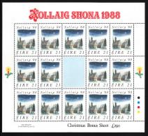 Ireland 1988 MNH Scott #730 Minisheet Of 14 21p St. Kevin's Church - Christmas - Blocs-feuillets