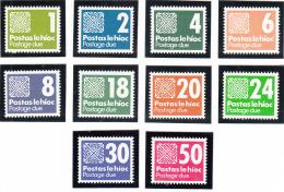 Ireland 1980-85 MNH Scott #J28-#J36 Set Of 10 Celtic Knot - Timbres-taxe