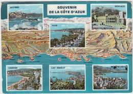 SOUVENIR De LA COTE D'AZUR, Antibes, Nice, Monaco, Cannes, Cap Ferrat, Montecarlo, 1967 Used Postcard - Provence-Alpes-Côte D'Azur