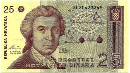 CROATIA - 25 Dinara - 08/10/1991 - P 19.a - Unc. - Série 202 - Ruder Boskovic / Zagreb Cathedral - Croatie Kroatien - Croatie
