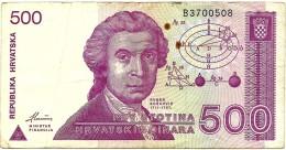 CROATIA - 500 Dinara - 08/10/1991 - P 21 - Used - Série B3 - R. Boskovic / Zagreb Cathedral - Croácia Croatie Kroatien - Croatia