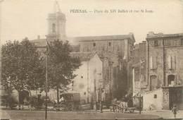 """.CPA  FRANCE 34 """"  Pézenas,  Place Du XIV Juillet Et Rue St Jean"""" - Pezenas"""