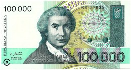 CROATIA - 100 000 Dinara - 30/05/1993 - P 27 - Unc. - Série B4 - R. Boskovic / Mother - Croatie Kroatien - 100000 - Croatie