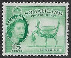Somaliland Protectorate SG139 1953 Definitive 15c Mounted Mint [37/30906/2D] - Somaliland (Protectorate ...-1959)