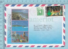 Nouvelle Calédonie - Envelope, Lettre Trois Vues, Air Mail Bourail 1988, To Canada - Nouvelle-Calédonie
