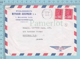 France  - Envelope, Lettre Commerciale, Air Mail,  Marseille 1974, To Canada - Lettres & Documents