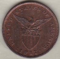 Philippines. U.S. A. Administration. 1 Centavo 1917 S San Francisco.  Bronze .KM# 163 - Philippines