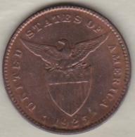 Philippines. U.S. A. Administration. 1 Centavo 1925 M MANILA.  Bronze .KM# 163 - Philippines