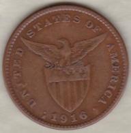 Philippines. U.S. A. Administration. 1 Centavo 1916 S San Francisco.  Bronze .KM# 163 - Philippines