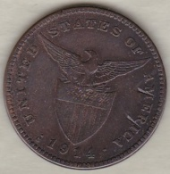 Philippines. U.S. A. Administration. 1 Centavo 1914 S San Francisco.  Bronze .KM# 163 - Philippines