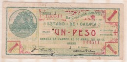 ESTADO DE OAXACA 1 Pesos 1915, Série J, N° 133511 - Mexico