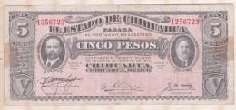 EL ESTADO DE CHIHUAHUA 5 Pesos 1915, Série M ,N° 1256723 - México