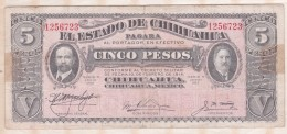 EL ESTADO DE CHIHUAHUA 5 Pesos 1915, Série M ,N° 1256723 - Mexique