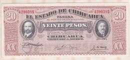 EL ESTADO DE CHIHUAHUA 20 Pesos 1915, Série K ,N° 4290385 , NEUF - Mexiko