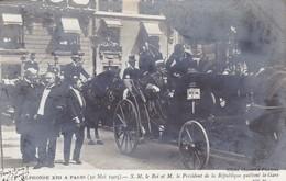 CARTE PHOTO / ALPHONSE XIII A PARIS / LE ROI ET LE PRESIDENT QUITTENT LA GARE - Espagne