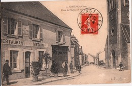 ASNIERES-PLACE DE L'EGLISE ET RUE DANTON-RESTAURANT MECHIN - France