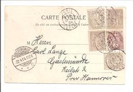 5 TP  Afr.Mixte Sage+Blanc.CP Paris Théâtre Français>Geestemünde 1904 - Marcophilie (Lettres)