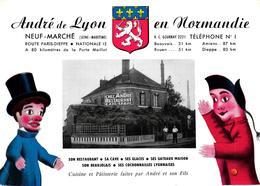 CARTE PUBLICITAIRE RESTAURANT - ANDRE DE LYON AUBERGISTE A NEUF MARCHE - Publicités
