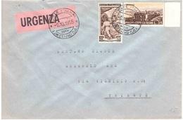 URGENZA CON £35 TAORMINA ANNULLO I° DECENNIO C.S.I. - 6. 1946-.. Repubblica