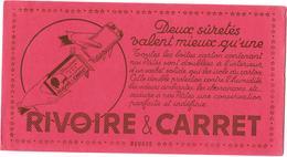 Buvard Publicitaire Années 50 RIVOIRE & CARRET PATES ALIMENTAIRES - Fond Rouge - DEUX SURETES VALENT MIEUX QU'UNE -13X24 - Food