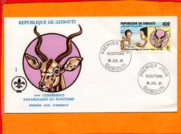 DJIBOUTI, Enveloppe Illustrée FDC, Timbre Scoutisme - Djibouti (1977-...)