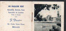 Bègles (33 Gironde) Calendrier 1957 Offert Par AU MAGASIN VERT  Bonneterie   Tissus (PPP13105) - Calendars