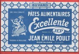 """Buvard 1949 -"""" EXCELLENTE """" PATES ALIMENTAIRES - Marque JEP - JEAN EMILE POULT à MONTAUBAN (Tarn&Gne) MOUILLOT MARSEILLE - Food"""