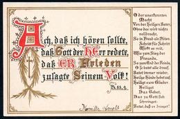 B4489 - Litho - Spruchkarte Liedkarte - Ps. 85,9 - Golddruck - Otros