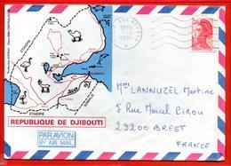 FRANCE, Poste Aux Armées, Lettre De Djibouti Pour Brest, Flamme 5 Lignes Ondulées - Marcophilie (Lettres)