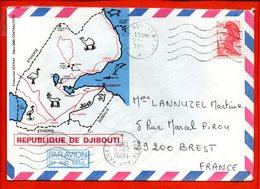FRANCE, Poste Aux Armées, Lettre De Djibouti Pour Brest, Flamme 5 Lignes Ondulées - Marcofilie (Brieven)