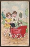 NL.- Het Vrolijke Driespan. Meisje Met Kinderwagen En Hond. Jongen Met Net. - Taferelen En Landschappen