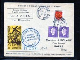 Semaine De L'aviation Angers-Dakar 21/10/1945 - Marcofilie (Brieven)